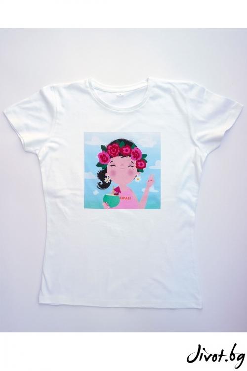 Бяла тениска Hawaii / VЯRA за MUSE SHOP