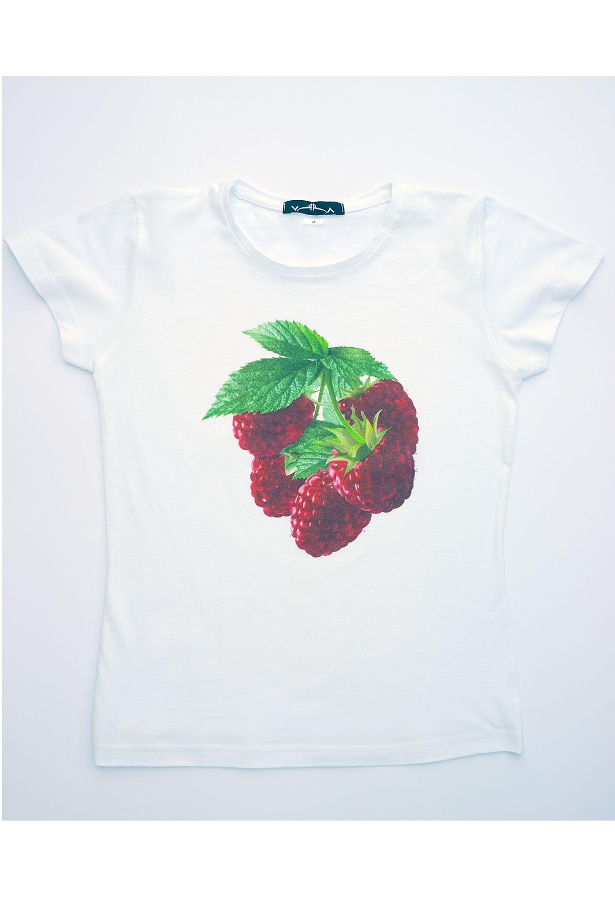 Бяла тениска Малинки / VЯRA за MUSE SHOP