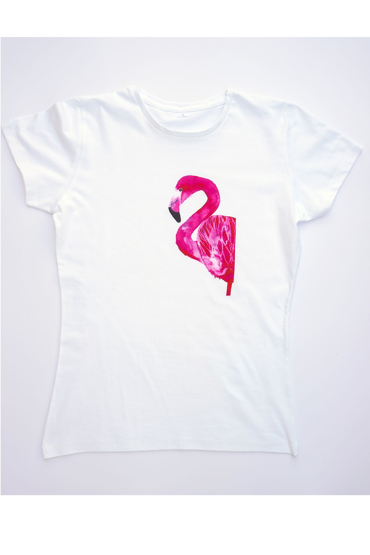 Бяла тениска Фламингото / VЯRA за MUSE SHOP