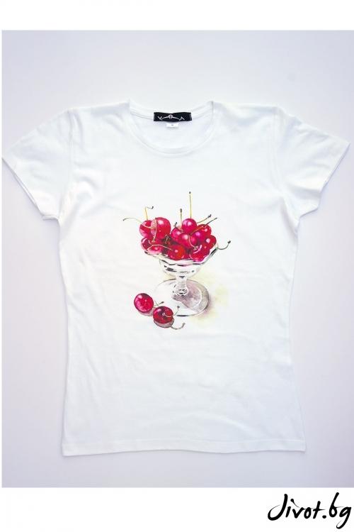 Бяла тениска Натурална сладост / VЯRA за MUSE SHOP