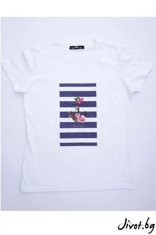 Бяла тениска Котва / VЯRA за MUSE SHOP