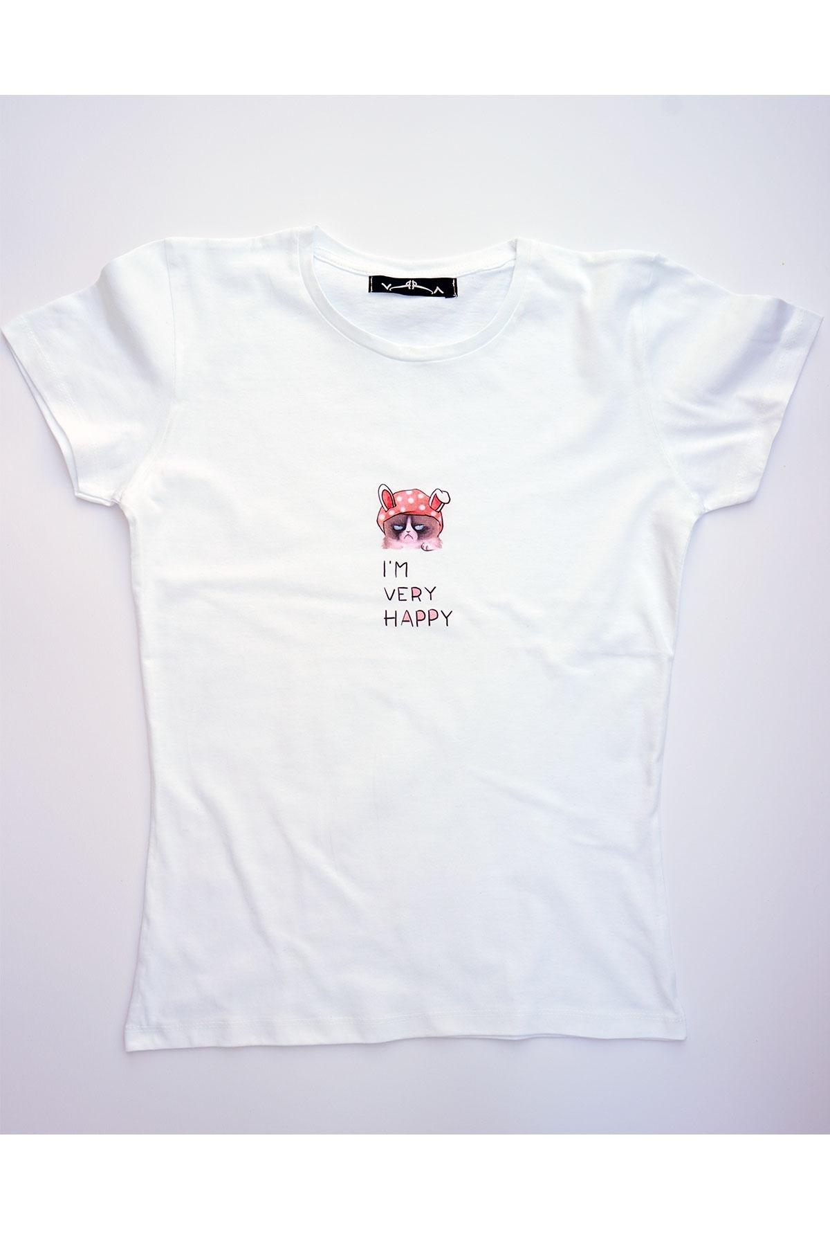 Бяла тениска I'm very happy / VЯRA за MUSE SHOP