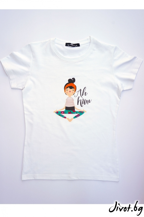 Бяла тениска Yoga / VЯRA за MUSE SHOP