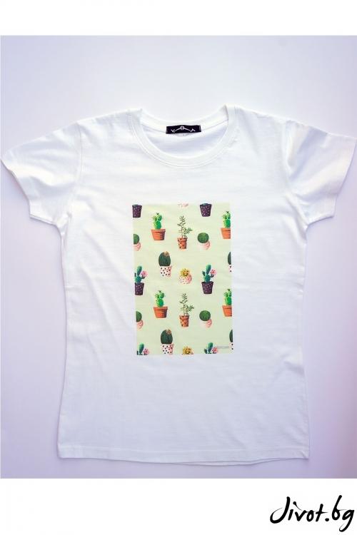 Бяла тениска Кактусите и още нещо / VЯRA за MUSE SHOP