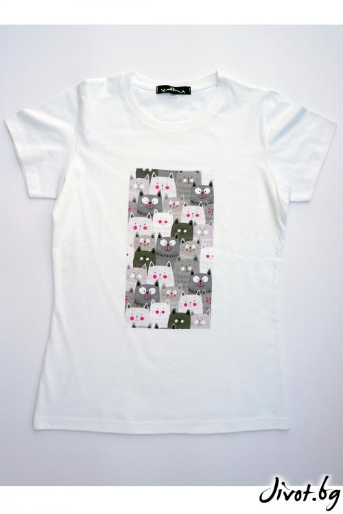 Бяла тениска Котенца / VЯRA за MUSE SHOP