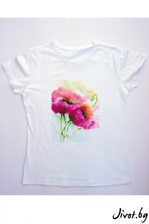 Бяла тениска Цветя / VЯRA за MUSE SHOP
