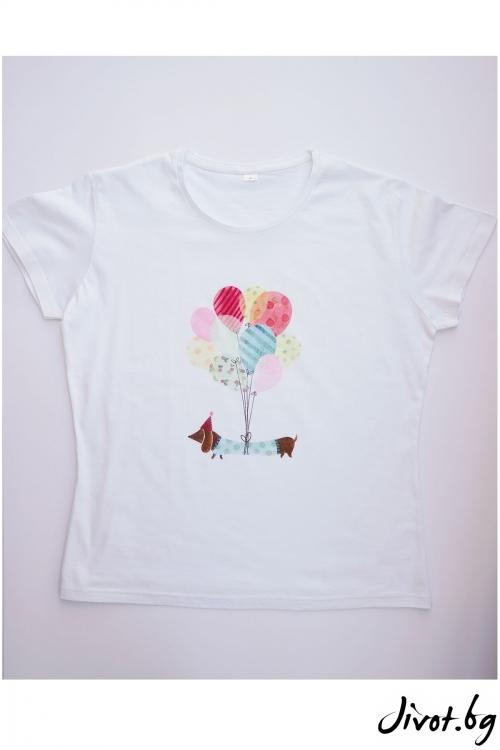 Бяла тениска Нека полетим / VЯRA за MUSE SHOP