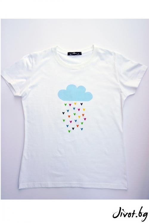 Бяла тениска Нека да вали любов / VЯRA за MUSE SHOP