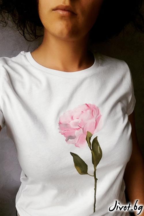"""Ръчно рисувана тениска """"Роза"""" / EGO Te Provoco"""