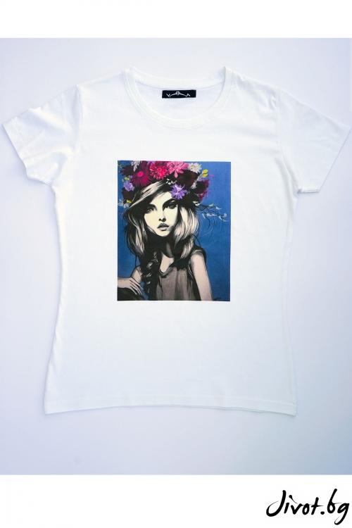 "Бяла тениска ""Жена"" / VЯRA за MUSE SHOP"