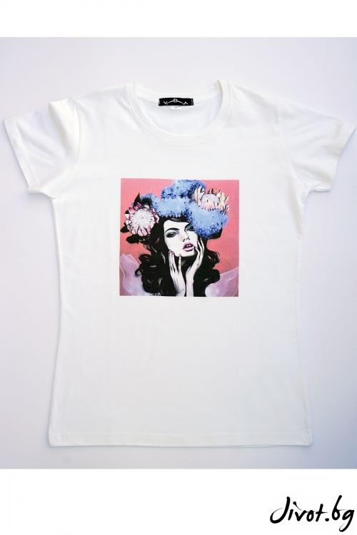 "Бяла тениска ""Красота"" / VЯRA за MUSE SHOP"
