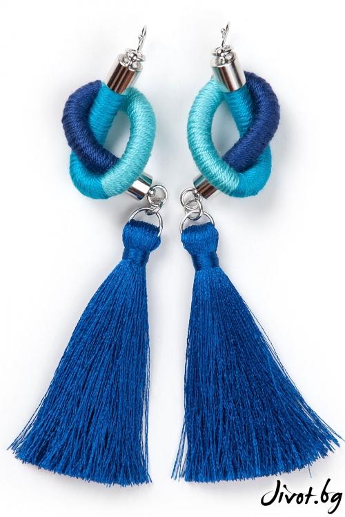Дамски ръчно изработени обеци в синьо и тюркоаз / KIA FIL
