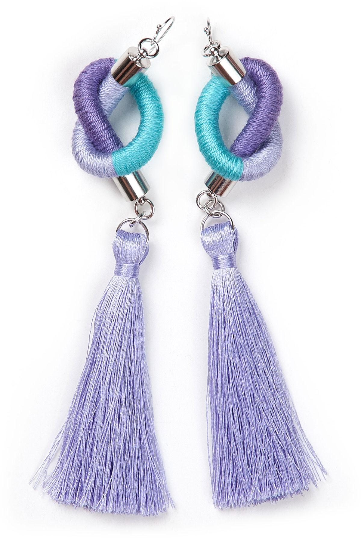 Дамски ръчно изработени обеци в лилаво и синьо / KIA FIL