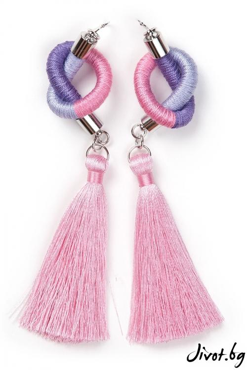 Дамски ръчно изработени обеци в лилаво-розово / KIA FIL
