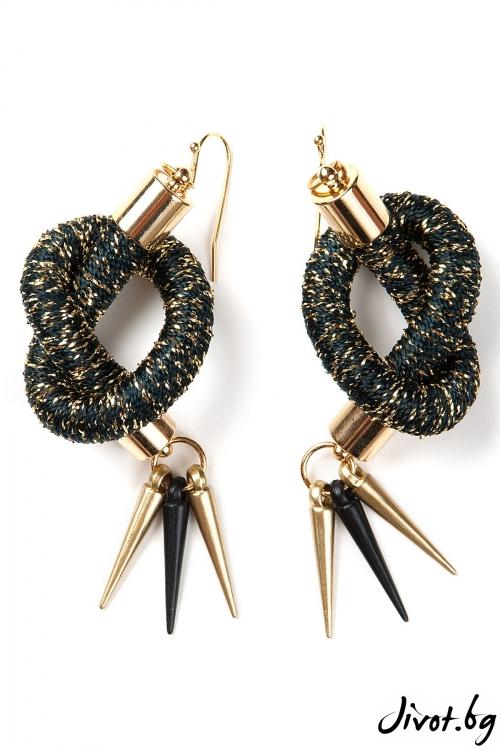 Дамски ръчно изработени обеци в черно и златно / KIA FIL