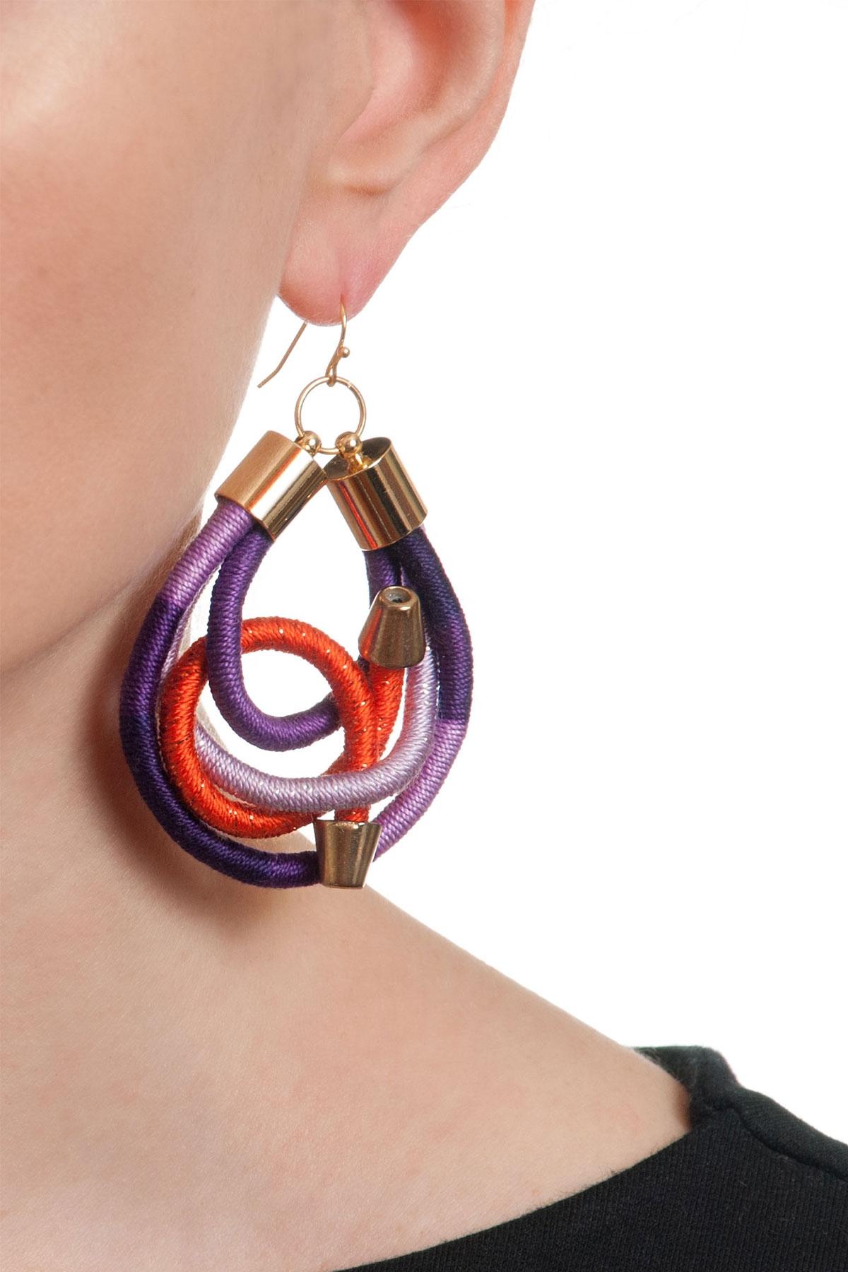 Арт обеци в лилаво и оранжево / KIA FIL