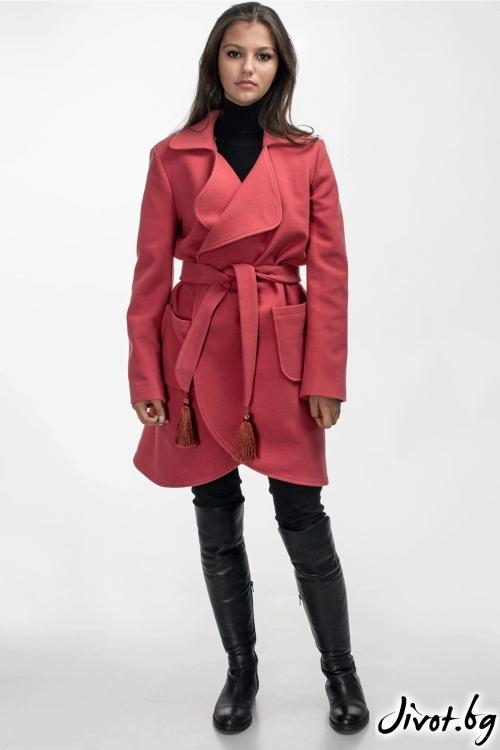 """Палто с цвят """"Малина"""" / Vivastela"""