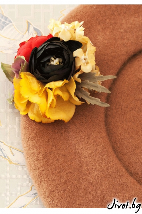 """The French Beret – """"Camel"""" / Forget-me-not"""