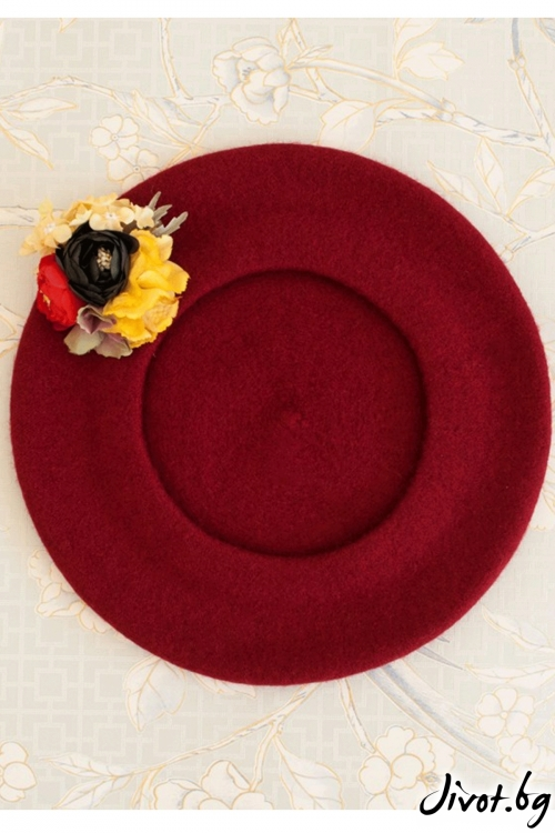 "The French Beret – ""Wine red"" / Forget-me-not"