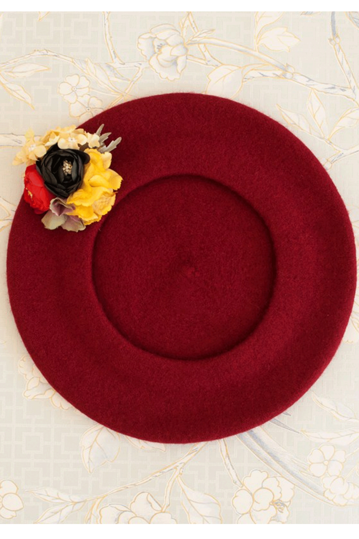 """The French Beret – """"Wine red"""" / Forget-me-not"""