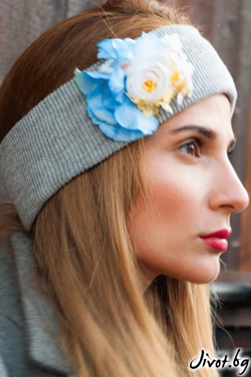 "The Winter Headband – ""Grey"" / Forget-me-not"