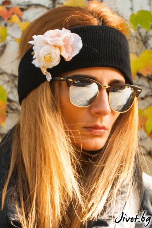 "The Winter Headband – ""Totally Black"" / Forget-me-not"