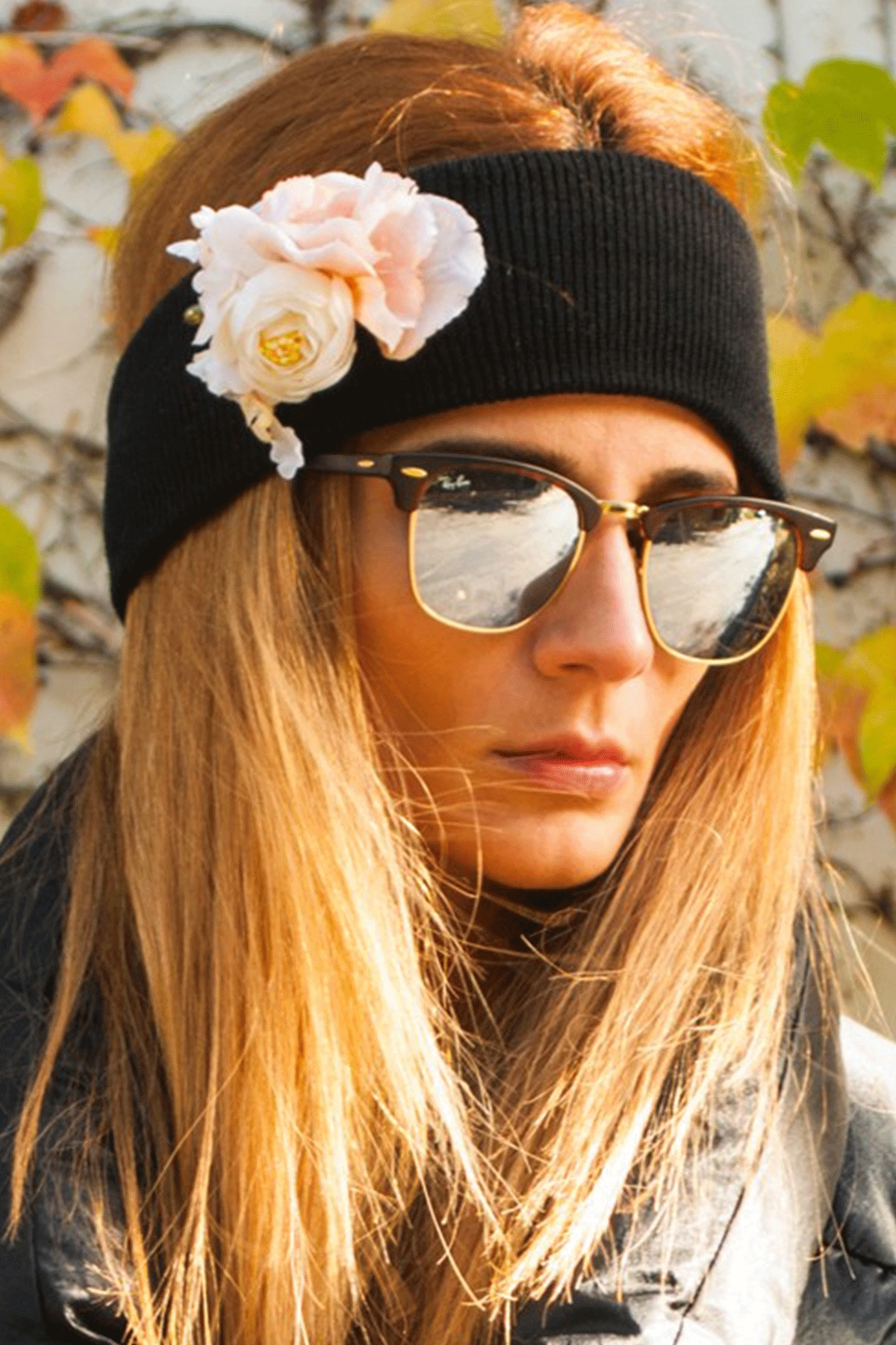 """The Winter Headband – """"Totally Black"""" / Forget-me-not"""