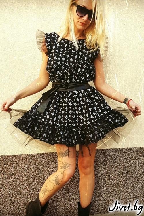Черна дамска рокля на черепи / Jeni&Migla