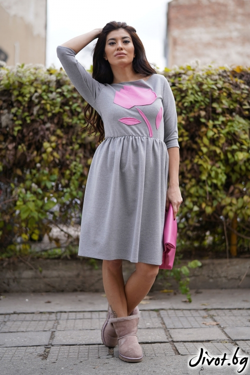 """Дамска рокля """" Pink Rose"""" / VЯRA за MUSE SHOP"""