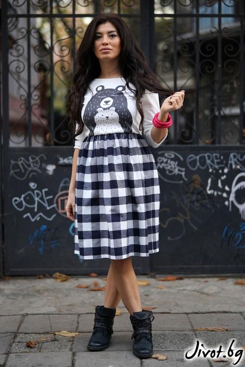 "Дамска рокля ""Black and white bear"" / VЯRA за MUSE SHOP"