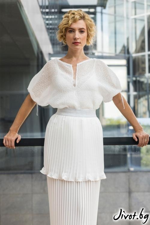 """Бяла дамска блуза - """"Сняг"""" / Модна къща АМБИЦИЯ"""