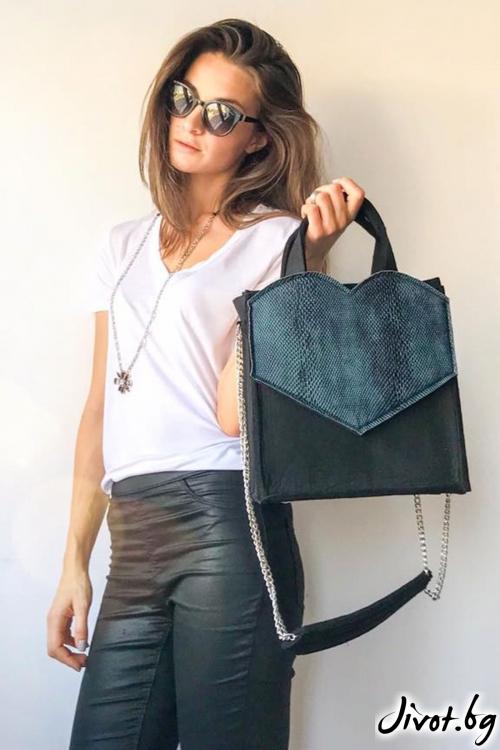 """Дамска чанта """"Love bag"""" с метална верижка / EMVy"""