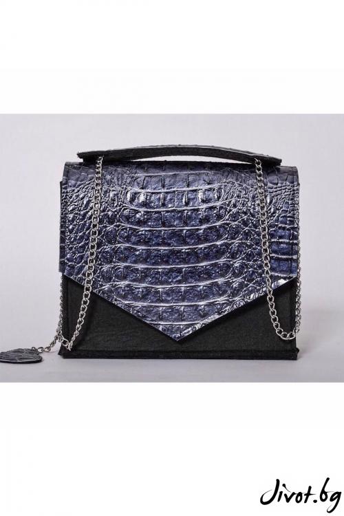 Черна чанта с капак от изкуствена кожа / EMVy