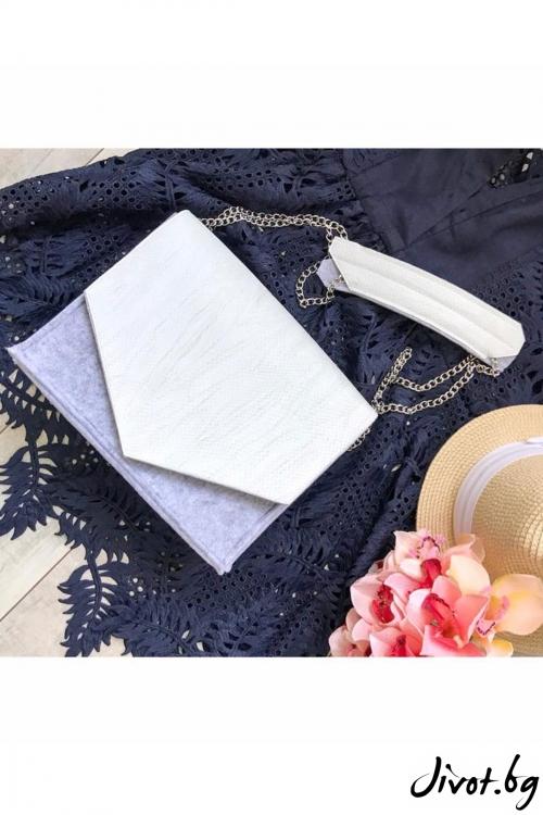 Бяла чанта с капак от изкуствена кожа / EMVy