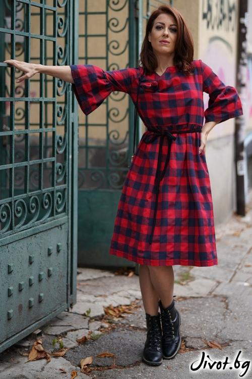 Стилна рокля на каре с колан / VЯRA за MUSE SHOP