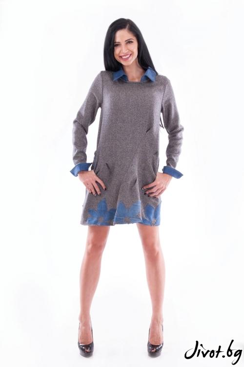 Къса рокля от вълна с апликации от деним / Ashante
