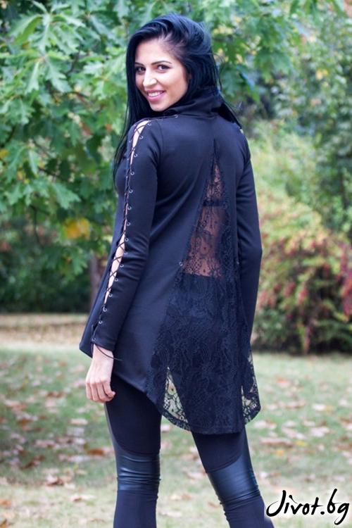 Черна блуза с асиметрична дължина / Elegance Fashion