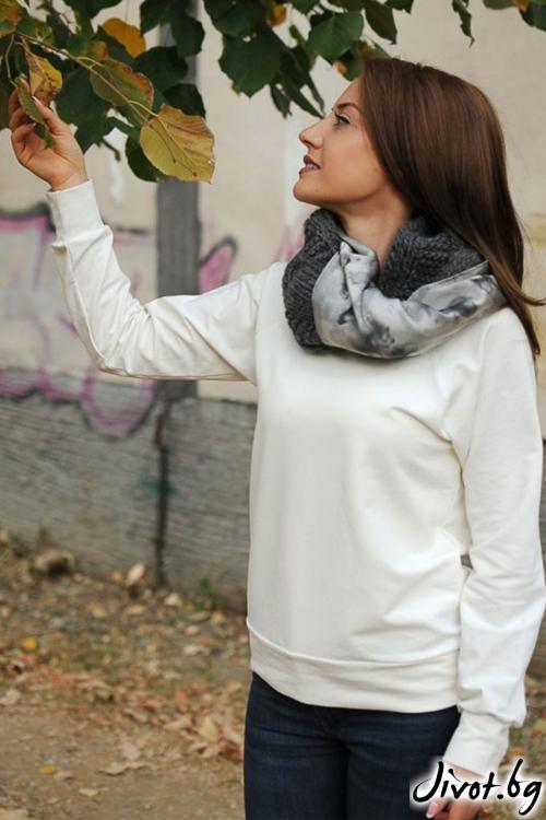 """Дамски шал от вълна и коприна """"Wool'' / Décollage"""