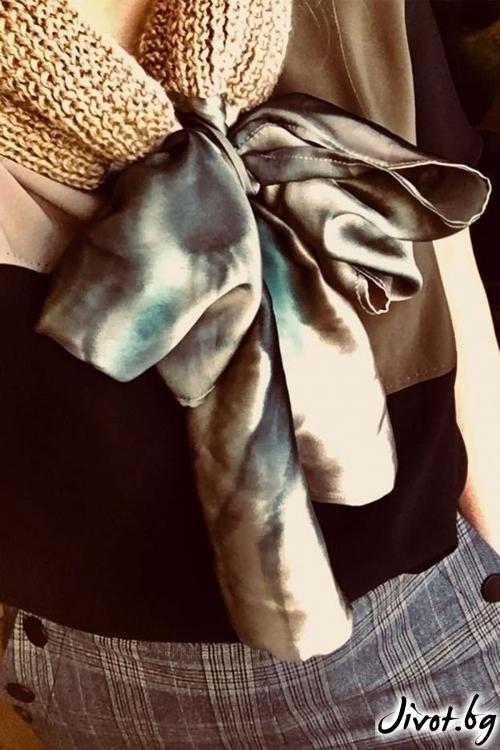 """Дамски шал от вълна и коприна """"Панделка 2"""" / Décollage"""