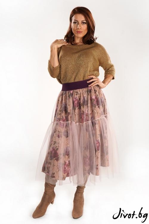 Красива пола с флорален мотив и тюл / ShuShi