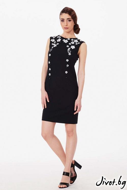 Елегантна рокля от фина вълна с пърхащи цветчета / Lila Style House