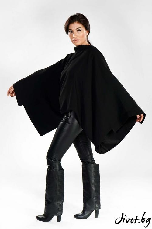 Ефектна черна блуза с отворен гръб / EXPERIMENT