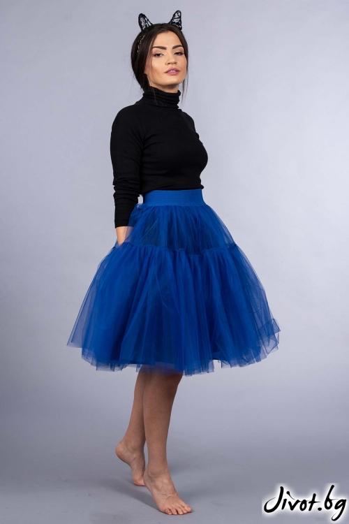 """Многопластова пола от син тюл """"Blue"""" / VERNE"""