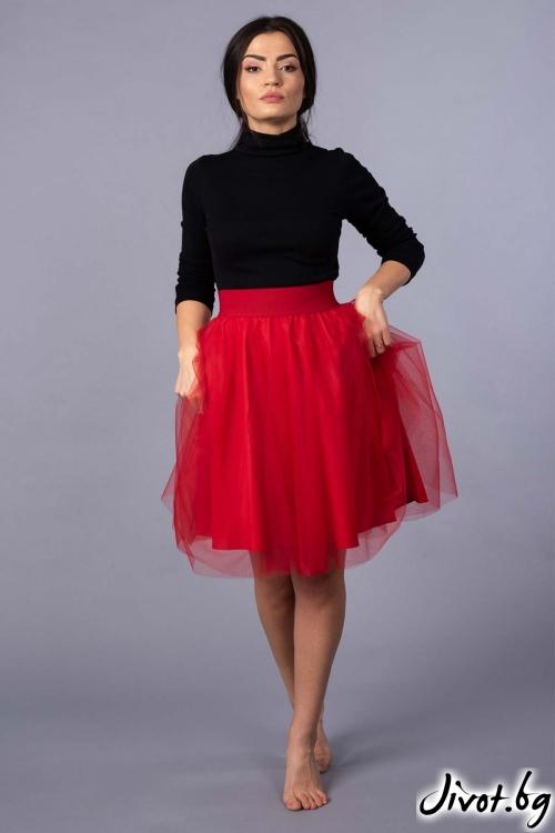 """Червена къса пола от тюл """"Lulu 2"""" / VERNE"""