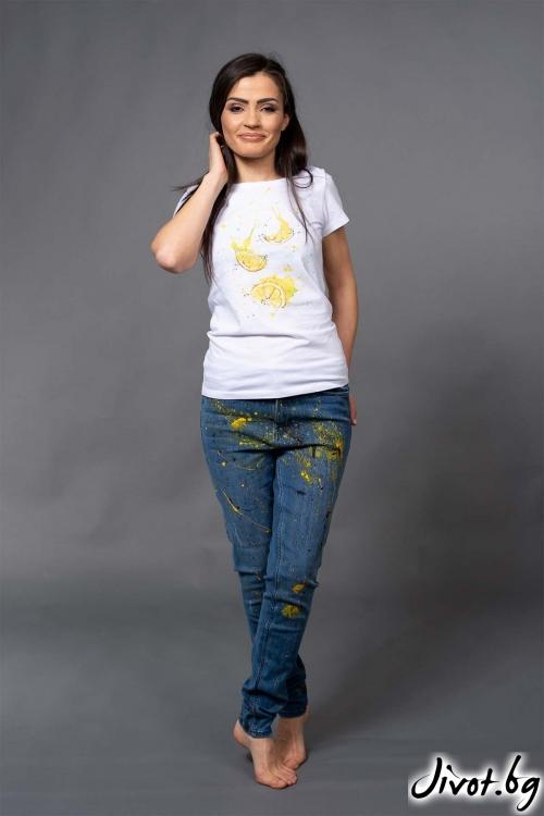 """Ефектна дамска тениска с лимони """"LEMI""""/VERNE"""