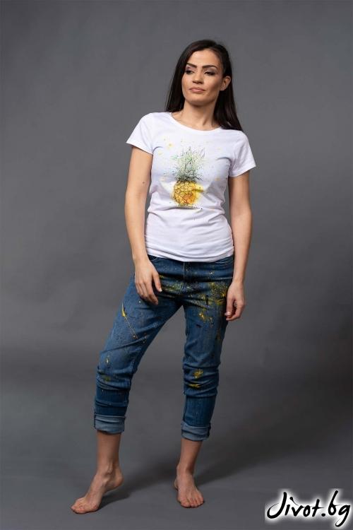 """Ефектна дамска тениска с ананаси """"LEMI 1""""/VERNE"""
