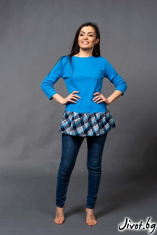"Красива дамска синя блуза ""PIONA""/VERNE"