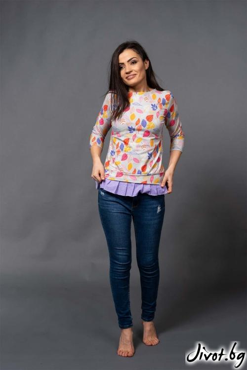 "Красива дамска блуза на листа ""VAANA""/VERNE"