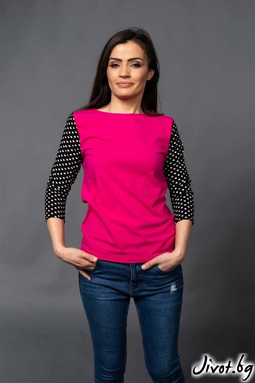 """Цикламена дамска блуза с ръкави на точки """"FIARA""""/VERNE"""