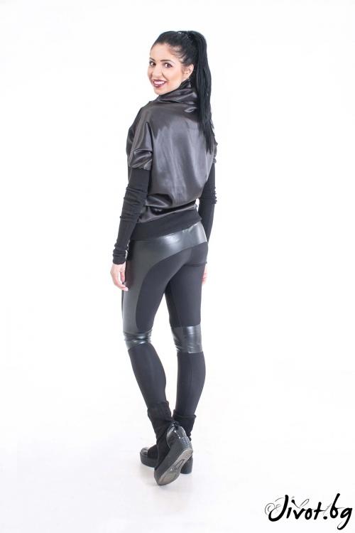 Блуза с висока яка , изработена от черен - еластичен сатен и рипс/Ashante